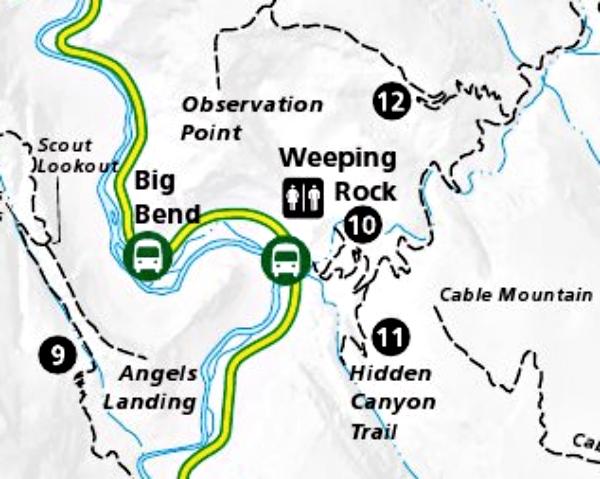 hidden canyon zion map