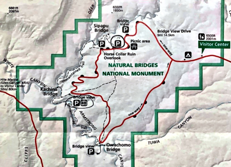 natural bridges national monument map
